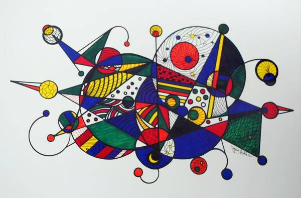 Abstract Art Print featuring the drawing Going Places by Janis Hobbs