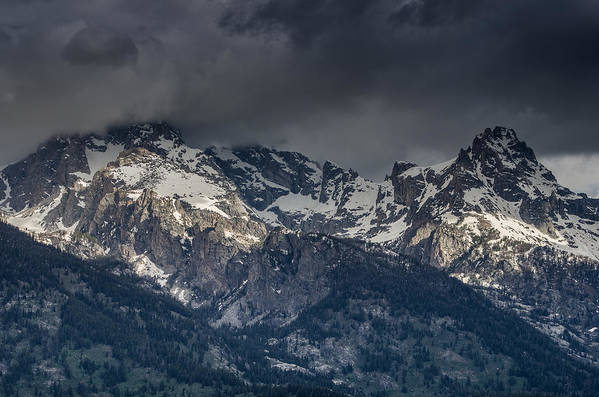 Grand Tetons National Park Art Print featuring the photograph Grand Tetons Immersed In Clouds by Greg Nyquist