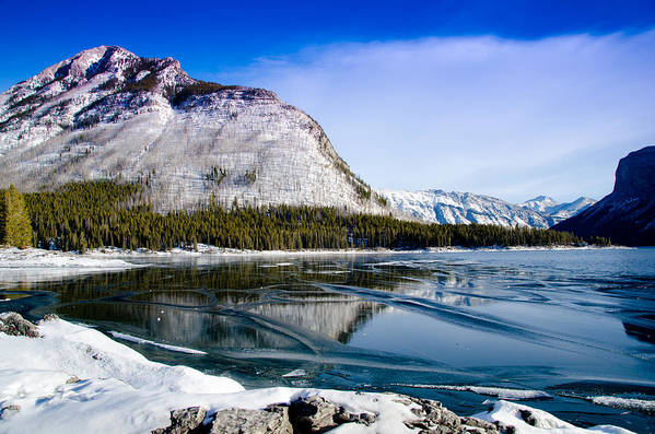 Lake Art Print featuring the photograph Grip By Winter by Manu Singh