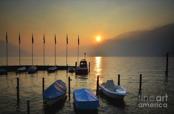 Port Art Print featuring the photograph Harbor On A Foggy Lake by Mats Silvan