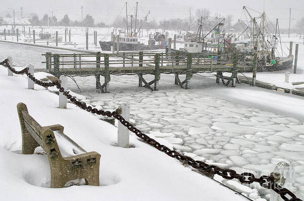 Snow Art Print featuring the photograph Heavy Snow Falls At Sandwich Marina In Sandwich On Cape Cod by Matt Suess
