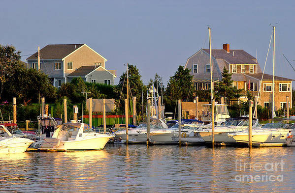 Hyannis Marina Art Print featuring the photograph Hyannis Harbor At Sunset by Matt Suess