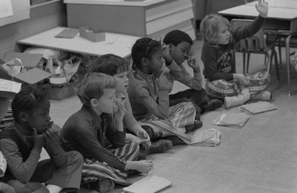History Art Print featuring the photograph Integrated First Grade Class Of African by Everett