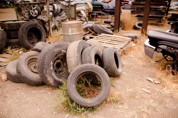 Tires Art Print featuring the photograph Iron Boneyard 1 by Matthew Angelo