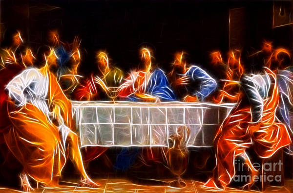 Jesus Christ Last Supper Art Print featuring the mixed media Jesus The Last Supper by Pamela Johnson