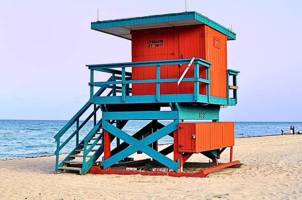 Lifeguard Tower Color Beach Ocean Sand south Beach Summer Art Print featuring the photograph Lifeguard Tower by Andres LaBrada