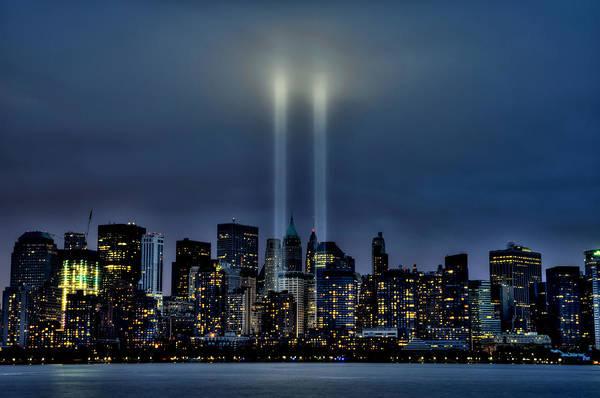 New York City Art Print featuring the pyrography Light Tribute by Tomasz Trzeciak