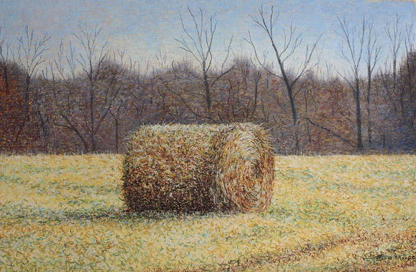 Haybale Art Print featuring the painting Lone Haybale by Patsy Sharpe