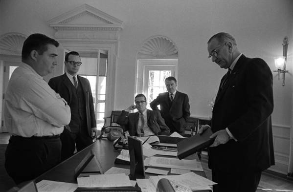 History Art Print featuring the photograph Lyndon Johnson With Former Kennedy by Everett