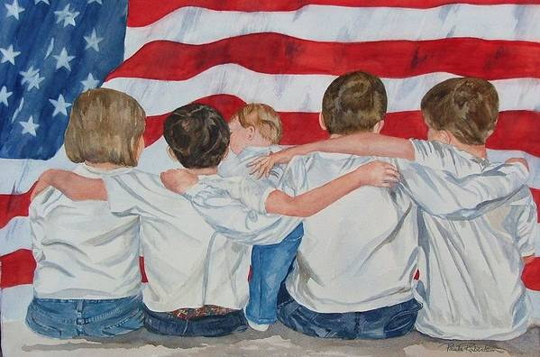 Patriotic Art Print featuring the painting Made In The Usa by Paula Robertson