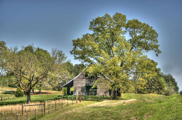 Barn Art Print featuring the digital art Nestled Under The Trees by Rick Ward