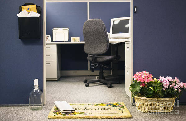 Blue Art Print featuring the photograph Office Cubicle by Andersen Ross
