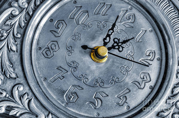 Alarm Art Print featuring the photograph Old Silver Clock by Carlos Caetano