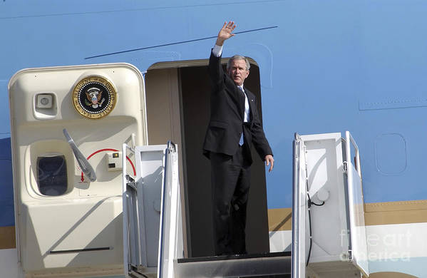 Color Image Art Print featuring the photograph President George Bush Waves Good-bye by Stocktrek Images