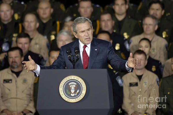 Horizontal Print featuring the photograph President George W. Bush Speaks by Stocktrek Images