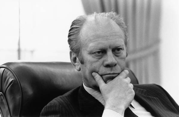 History Art Print featuring the photograph President Gerald Ford Listening by Everett