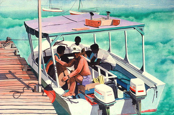 San Pedro Ambergris Caye Belize Seascape Art Print featuring the painting Ramon's Glass Bottom Boat by John Westerhold