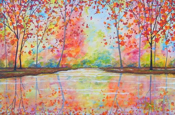 Abstract Trees Art Print featuring the painting Reflections by Peggy Davis