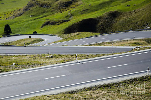 Mountain Art Print featuring the photograph Road With Curves by Mats Silvan