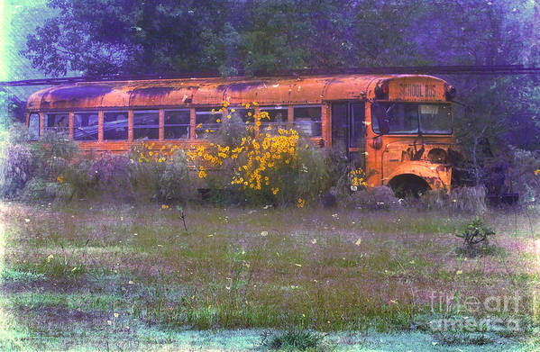 School Art Print featuring the photograph School Bus Out To Pasture by Judi Bagwell