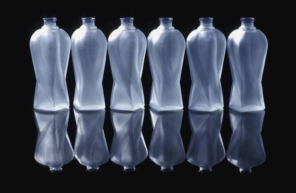 Background Art Print featuring the photograph Six Glass Bottles by David Chapman