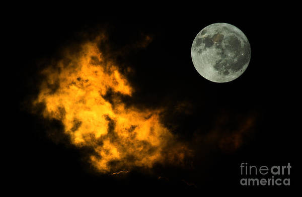 Nature Art Print featuring the digital art Sky And Moon by Odon Czintos