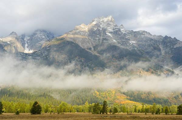Landscape Art Print featuring the photograph Storm On Grand Teton by Sandra Bronstein