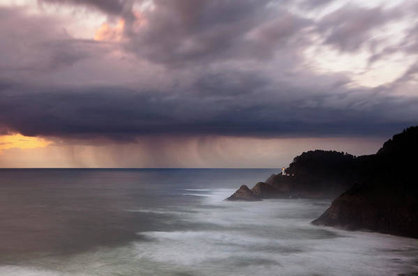 Light House Print featuring the photograph Storm Over Heceta Head by Keith Kapple