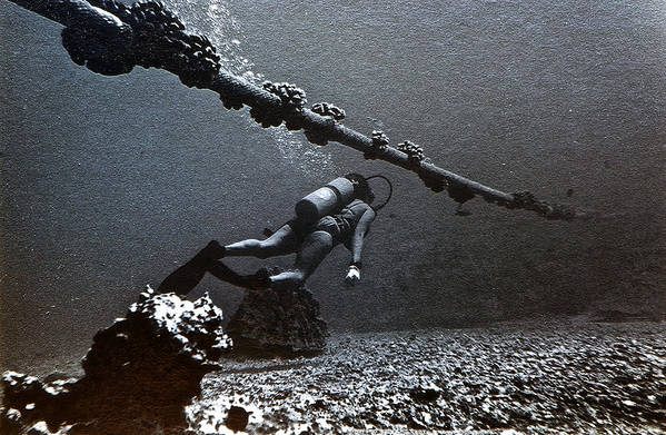 Submarine Art Print featuring the photograph Submarine Telephone Cable And Diver - Hanauma Bay 1973 by Bill Owen
