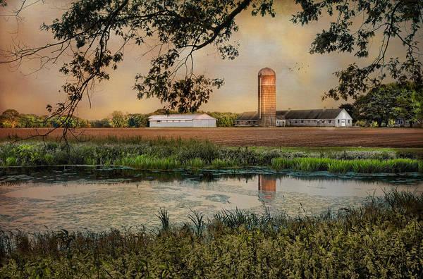 Farm Art Print featuring the photograph Summer Silo Reflection by Robin-Lee Vieira