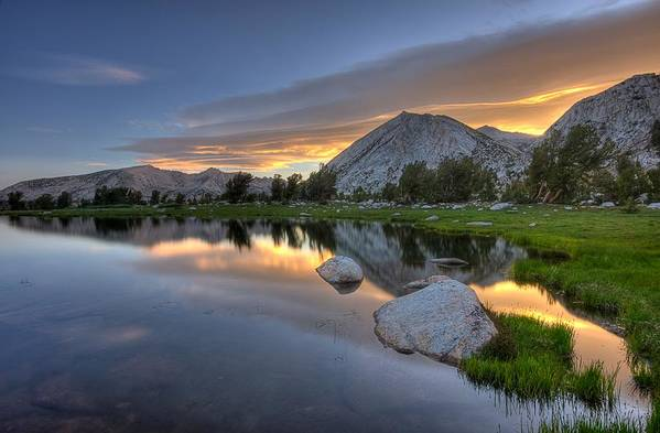 Horizontal Art Print featuring the photograph Sunrise At Upper Young Lake by by Sathish Jothikumar