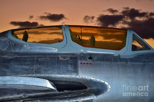 1951 Russian Mig Art Print featuring the photograph Sunset Through The Cockpit by Lynda Dawson-Youngclaus