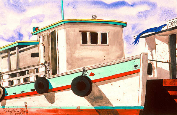 Caribbean Seascape Belize Art Print featuring the painting The Caribbean Queen by John Westerhold