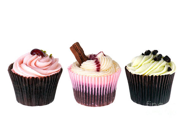 Appetizing Art Print featuring the photograph Three Cupcakes by Jane Rix