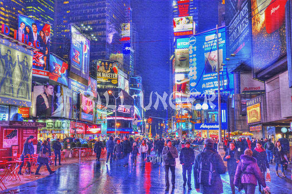 Cityscape Art Print featuring the pyrography Times Square by Bill Unger
