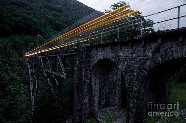 Train Art Print featuring the photograph Train Lights by Mats Silvan