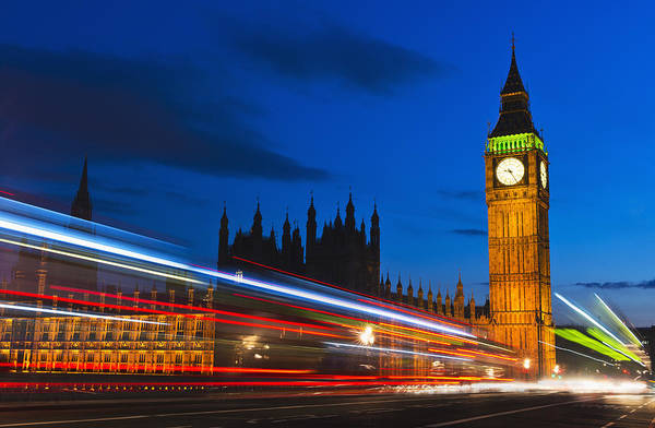 Horizontal Art Print featuring the photograph Uk, England, London, Big Ben And Light Trails At Night by Tetra Images