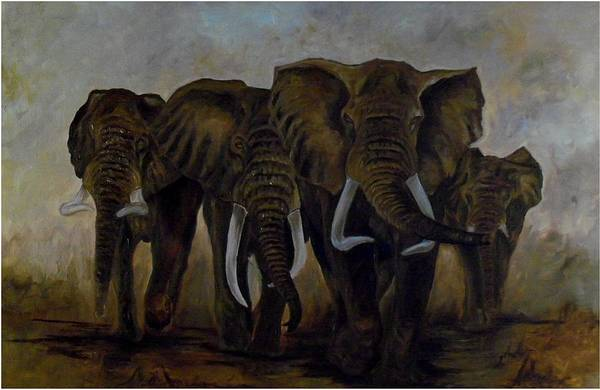 Elephant Art Print featuring the painting Elephant Herd Hurrying For A Drink by Amos Ochieno