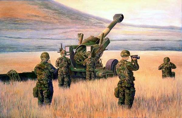 Signed And Numbered Prints Of The Montana National Guard Art Print featuring the print 1-190th Artillery by Scott Robertson