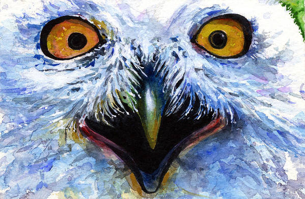 Eye Art Print featuring the painting Eyes Of Owls No. 15 by John D Benson