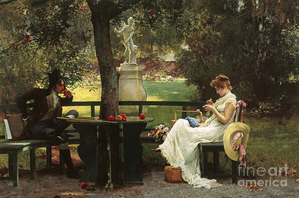 In Love (oil On Canvas) By In Love (oil On Canvas) By Marcus Stone (1840-1921) Art Print featuring the painting In Love by Marcus Stone