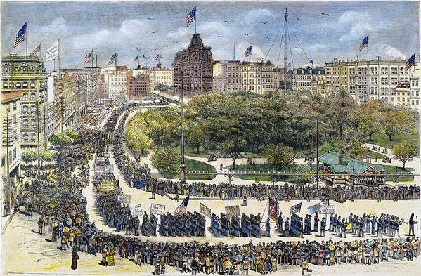 1882 Print featuring the photograph Labor Day Parade, 1882 by Granger
