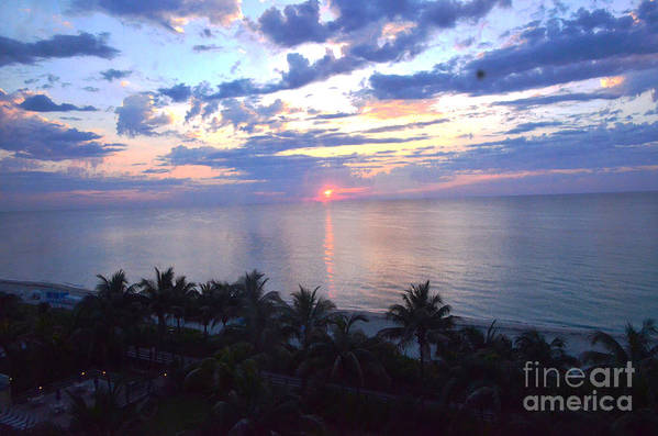 Sunrise Print featuring the photograph Miami Sunrise by Pravine Chester
