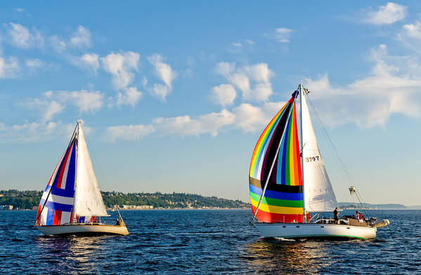 Seattle Art Print featuring the photograph Rainbow Sails by Tom Dowd