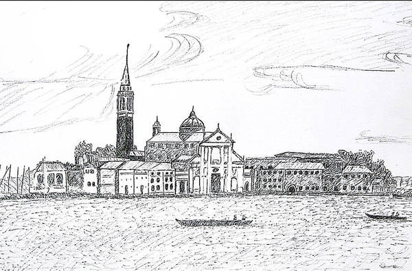 Venice Art Print featuring the drawing Venice Italy by Monica Engeler