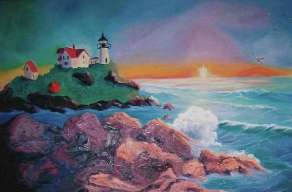 Beach Art Print featuring the painting York Beach Maine by Suzanne Marie Leclair