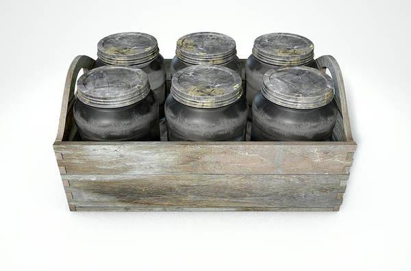 Jar Art Print featuring the digital art Whiskey Jars In A Crate by Allan Swart