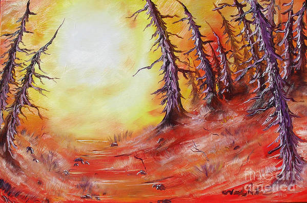 Abstract Art Print featuring the painting 16 Trees by Joseph Palotas