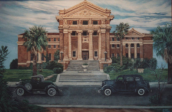Architecture Art Print featuring the painting 1936 Era Nueces County Courthouse by Diann Baggett