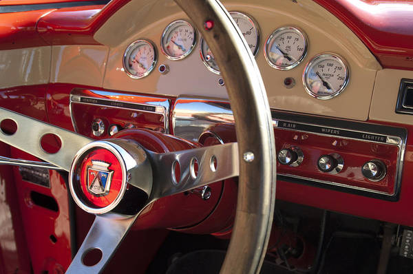 1957 Ford Fairlane Art Print featuring the photograph 1957 Ford Fairlane Steering Wheel by Jill Reger